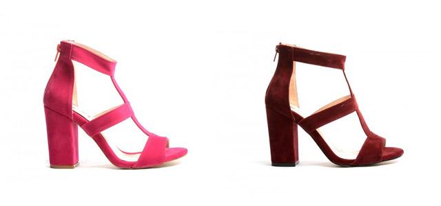 Sandale de zi/ de ocazii elegante cu toc gros inalt din piele intoarsa roz, grena