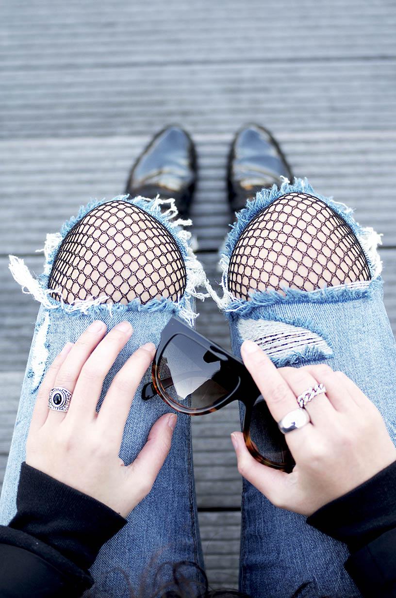 Elizabeth l denim fishnet tights trend tendance collants résille l THEDEETSONE l Zara Repetto Asos l http://thedeetsone.blogspot.fr