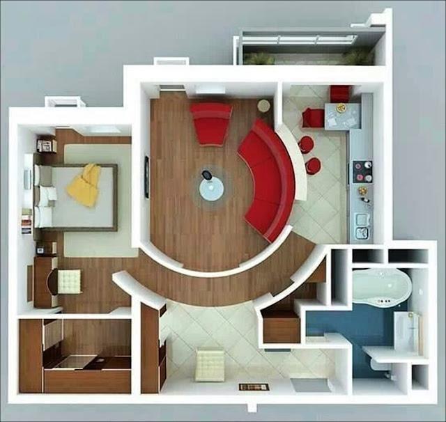Planta de casa com sala e corredor em círculo