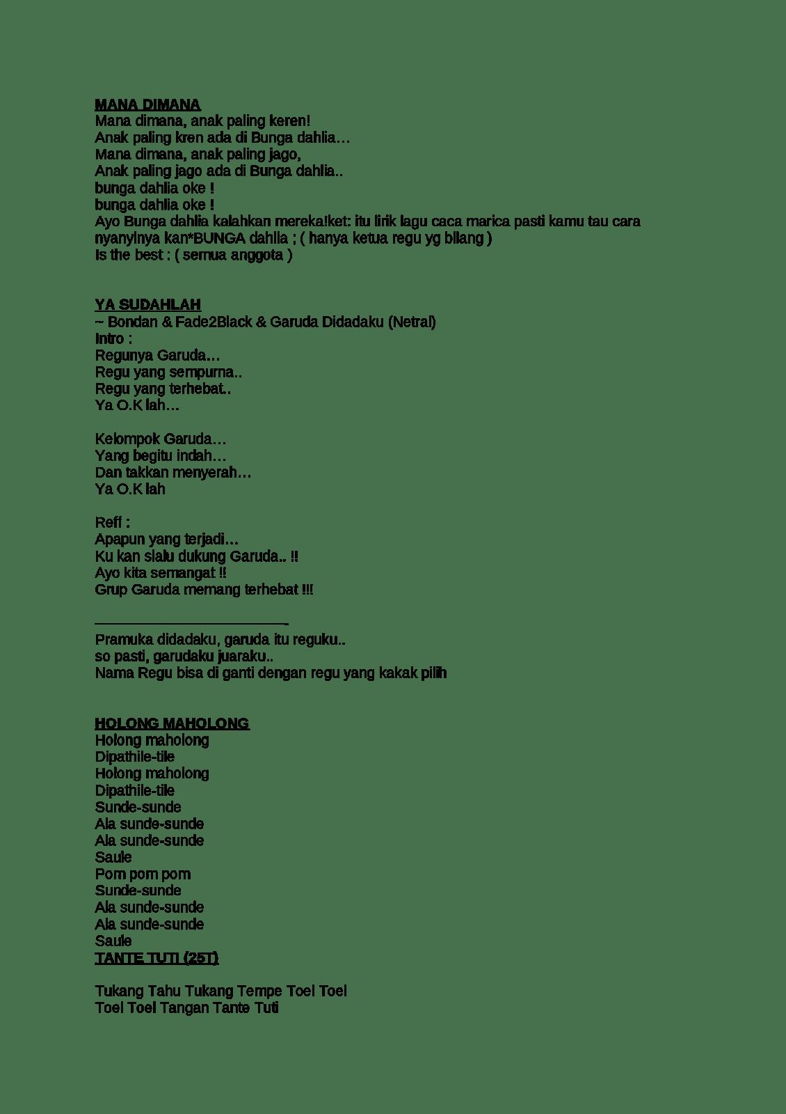 Contoh Lirik Yel Yel Lucu : contoh, lirik, Kelompok