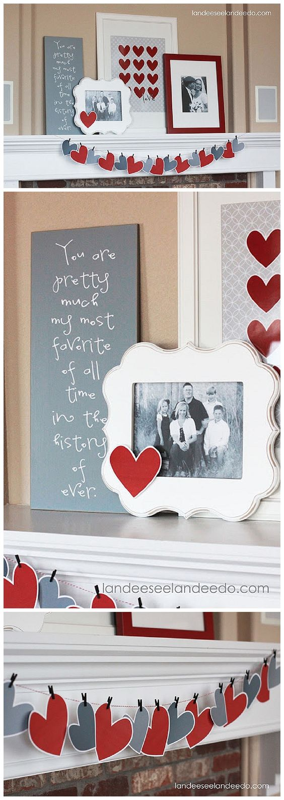 VALENTINE'S DAY MANTEL DECORATIONS AND IDEAS