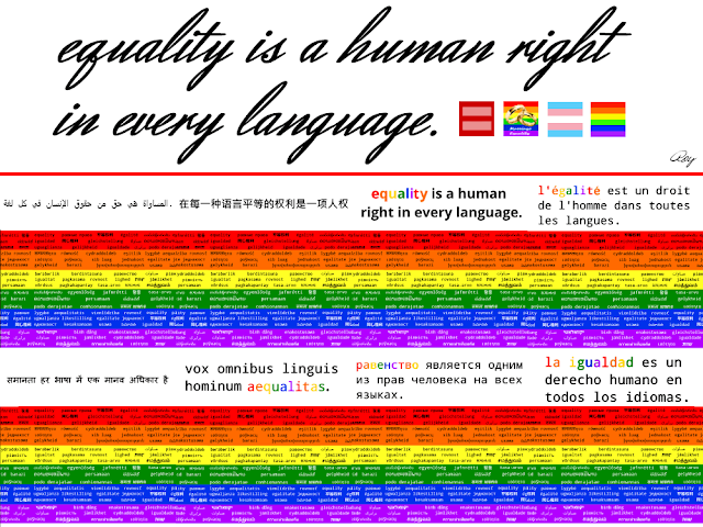 Equality is a human right in every language, in 8 languages (arabic, chinese, english, french, hindu, latin, russian, and spanish)