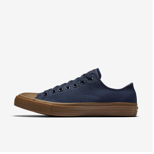 338cc667709d16 The Chuck Taylor All Star II Gum is given a subtle new look with the  addition of both a gum rubber sidewall and toe cap. A tencel canvas upper  continues to ...