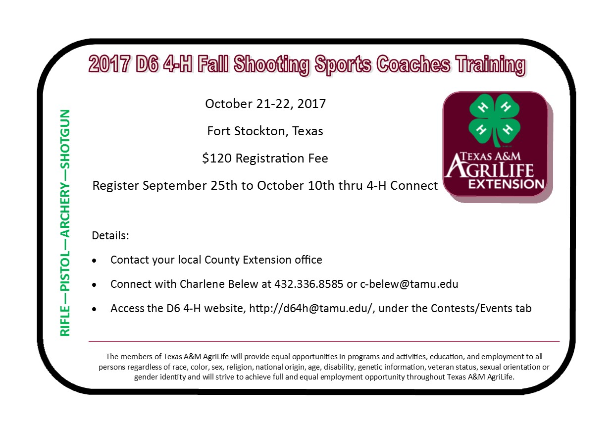 4 h fall shooting sports coaches certification training fort 4 h fall shooting sports coaches certification training fort stockton october 21 22 xflitez Images