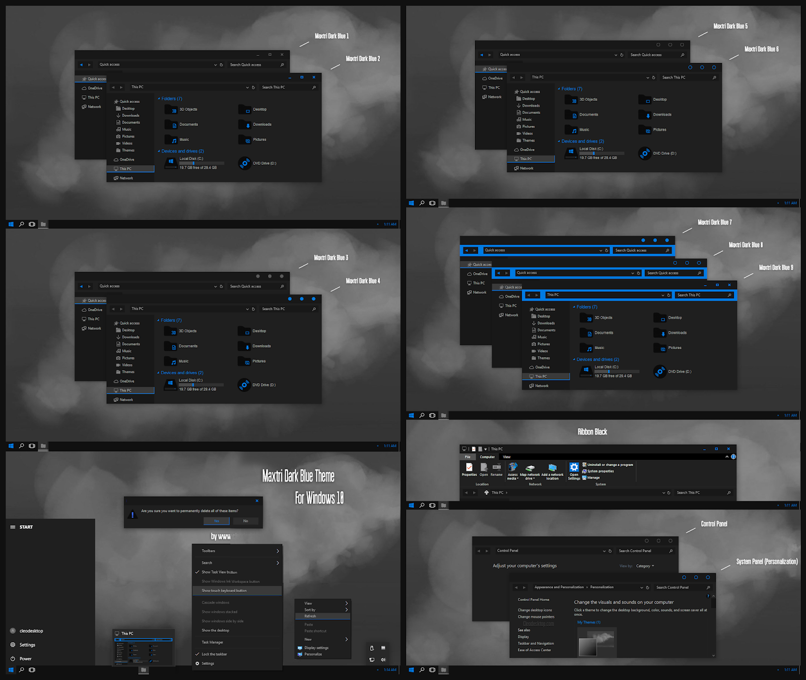 Maxtri Dark Blue Theme For Windows10 2004