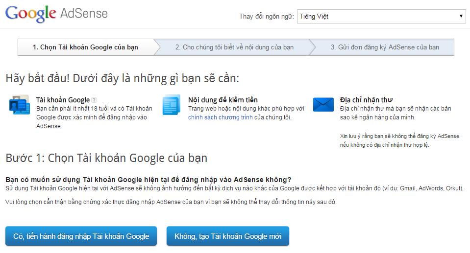 Bí kíp đăng ký tài khoản Google Adsense thành công