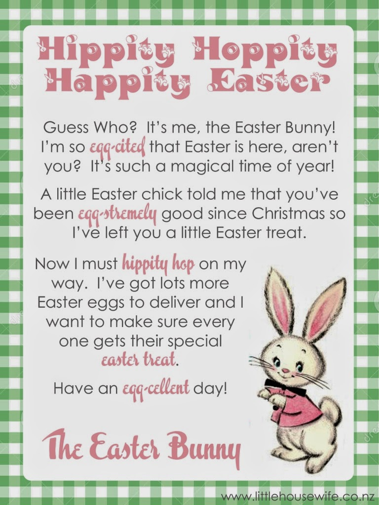 Shocking image with letter from easter bunny printable