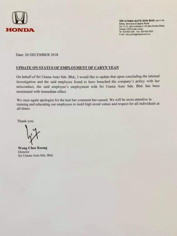Honda pecat staf tulis komen tidak sensitif kematian Adib