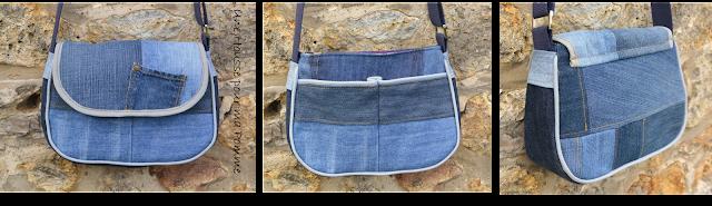 Sac à main Besace en jeans recyclés monté façon patchwork, intérieur coton ethnique coloris violet, turquoise, jaune, passepoil gris clair, deux poches en soufflet devant, biais gris clair sur le rabat, entièrement doublé pour le rendre semi-rigide, anse coton bleu marine, boucles couleur argent, surpiqures jaunes et rouge .  Dimensions : 24 x 18 x 7 cm environ.
