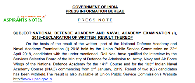 UPSC NDA 2018 Result Out:  Direct link to Check
