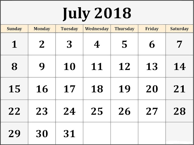 July 2018 calendar Holiday USA