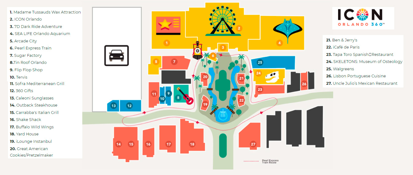 Mapa do ICON Orlando 360 - Maio 2018