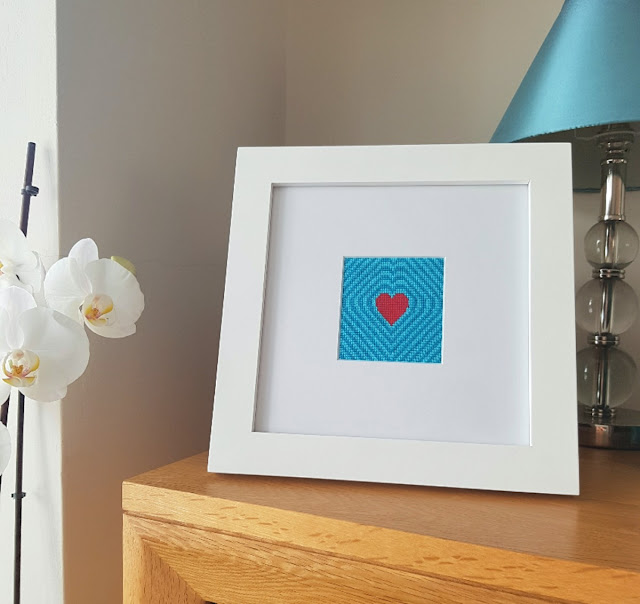 Heart cross-stitch - wedding gift