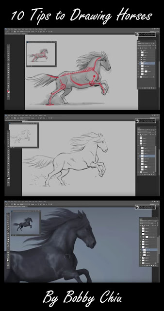 Video Screen Captures:  10 Tips to Drawing Horses by Bobby Chiu