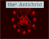"The Antichrist 666 the Number of his Name shows a graphic by Erika Grey of baphomet a goat dragon symbol for the devil is in a circle of stars highlighted in red and against  black background, on the top is an excerp from the book of 2 John in the Bible that reads as it is written ""the Antichrist and across the devil's chest is 666 in red letters."