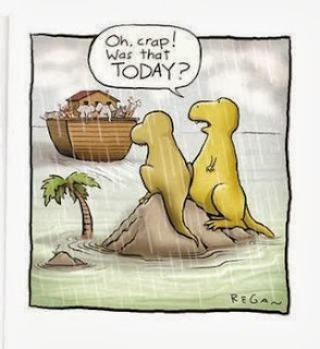 Funny two dinosaurs missing Noah's ark Bible cartoon - crap was that today