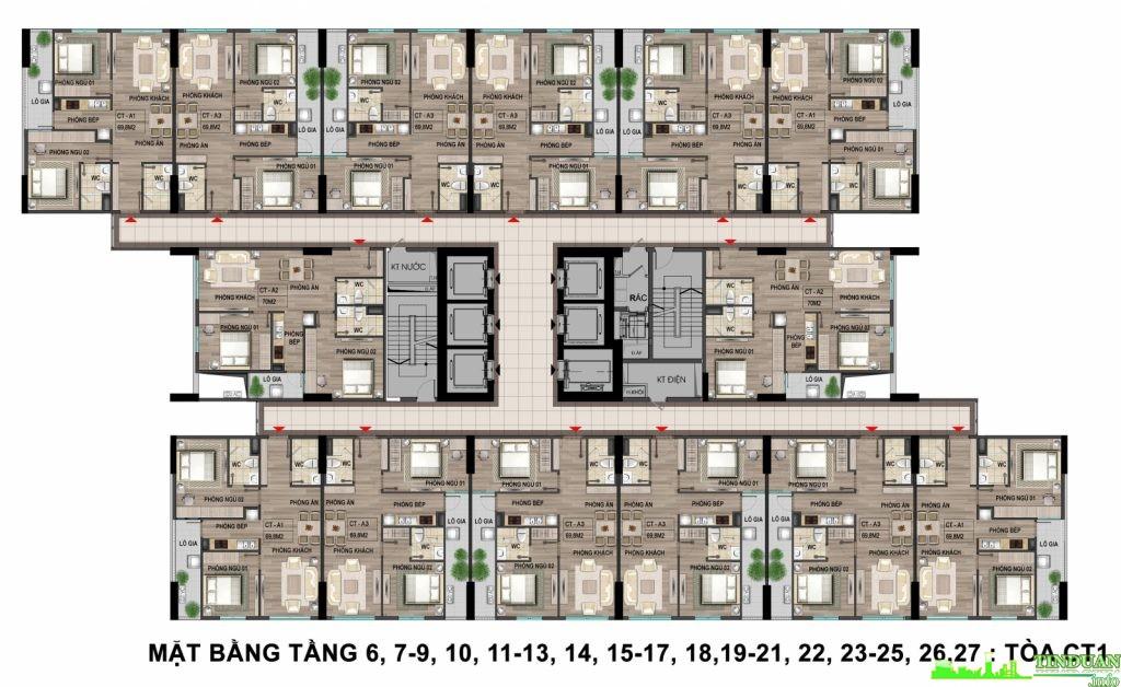 Mặt bằng căn hộ tầng 6,7-9,10,11 - 13,14, 15-17 tại dự án chung cư Bộ Công An - Cổ Nhuế 2