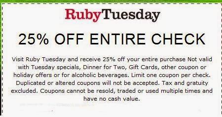 photograph regarding Ruby Tuesday Printable Coupons named Ruby Tuesday Printable Coupon codes Could 2018