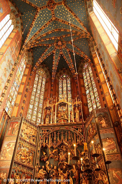 The ornamented ceiling of St Mary's Basilica in Krakow in Poland.
