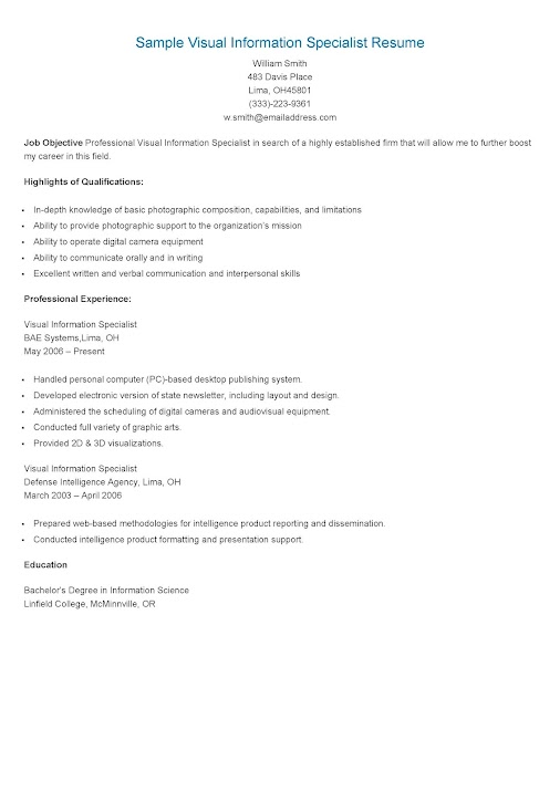 Visual Information Specialist Resume Samples Google