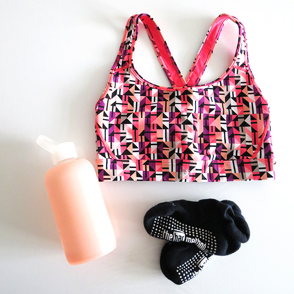BKR pink water bottle, Victoria's Secret sports bra, Bar Method grippy socks. Bar Method Vancouver Yaletown studio, barre, fitness inspiration, positive changes, health, wellness, workout, exercise