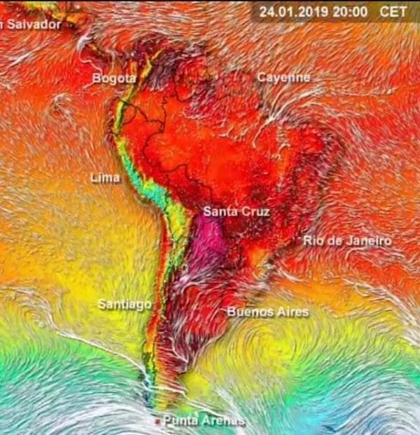 ola de calor rompera récords en sudamerica , para los siguientes dias.