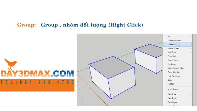 Dạy  học 3d sketchup 18 Hướng dẫn dùng group learning sketchup study 3d how to use group tool