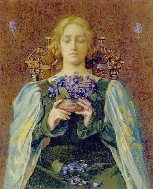 Young girl keeps a bouquet of violets