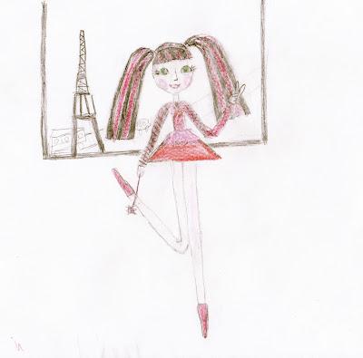 девочка с розовыми волосами и Эйфелева башня, детский рисунок