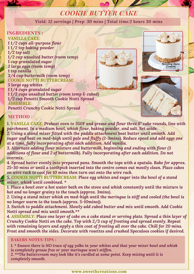 COOKIE BUTTER CAKE RECIPE