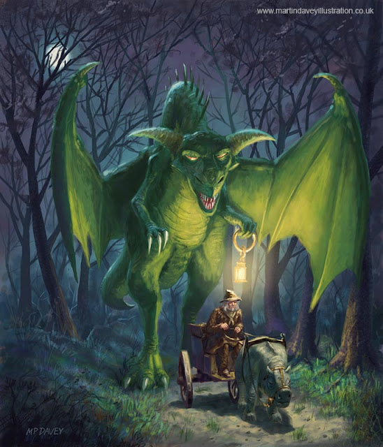 Davey art traveller with dragon in forest