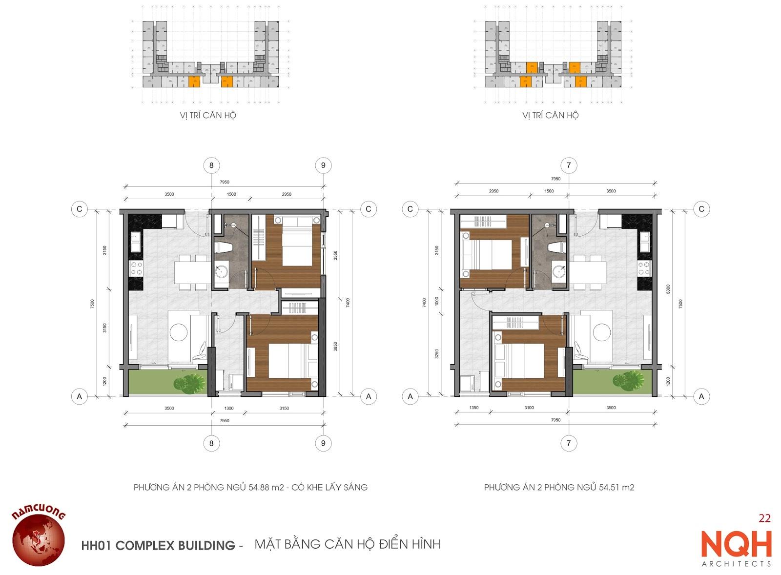 Căn hộ 2 phòng ngủ 54m2, 55m2, 72m2, 79m2.