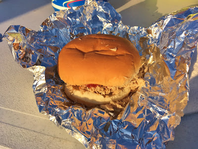 Pulled pork sandwich at the Testicle Festival