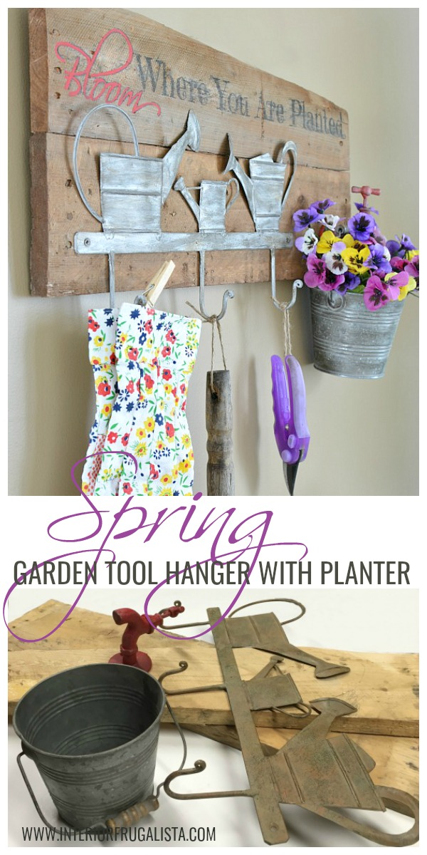 A rustic wall mount Garden Tool Holder With Flower Planter. Unique small garden tool organization for the backyard garden shed or potting bench. #gardentoolorganization #gardentoolholder #gardentoolhanger #wallmountgardentoolorganizer
