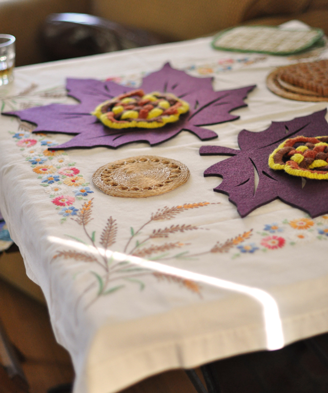 Family Thanksgiving, vintage tablecloths