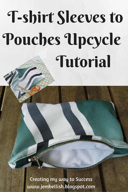 Upcycled T-shirt sleeves to zipped pouches
