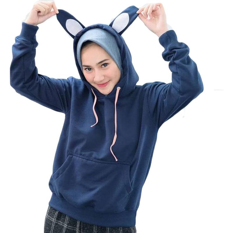 Jaket Sweater Hoodie Kekinian Bunny Wanita - Biru Navy