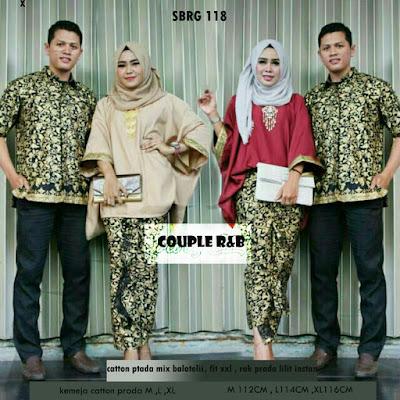 Batik Pasangan SBRG 118 Couple Gamis Kebaya Modern