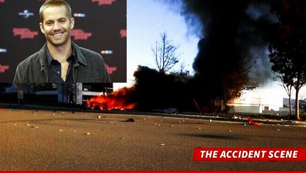 Paul Walker accident scene: Fiery car crashing photo