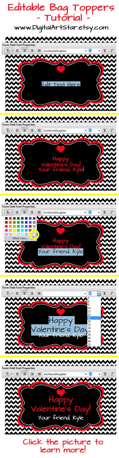 Editable chevron Valentine's Day bag toppers tutorial