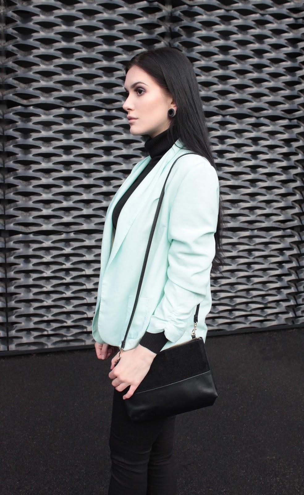 mint jacket l miętowa marynarka l minimal look l elegant