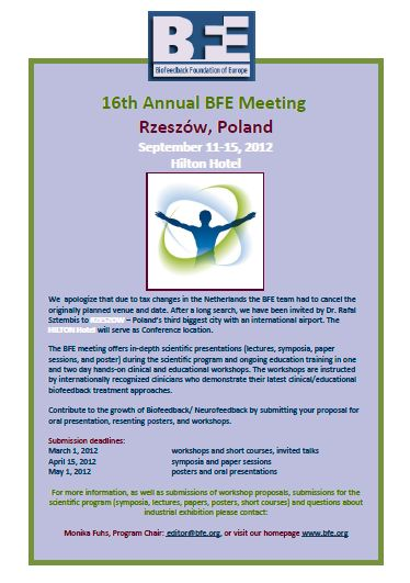 Biofeedback Federation of Europe: BFE 2011 Annual Conference
