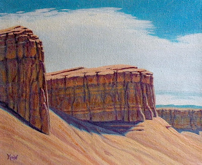 landscape painting reef formations east desert utah near torrey
