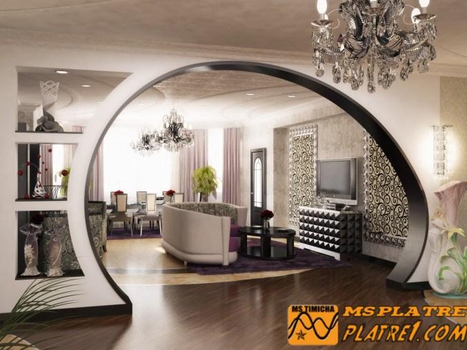 Ouveau faux plafond simple de salon et un placard pour tv et d cor platre for Placard pour salon