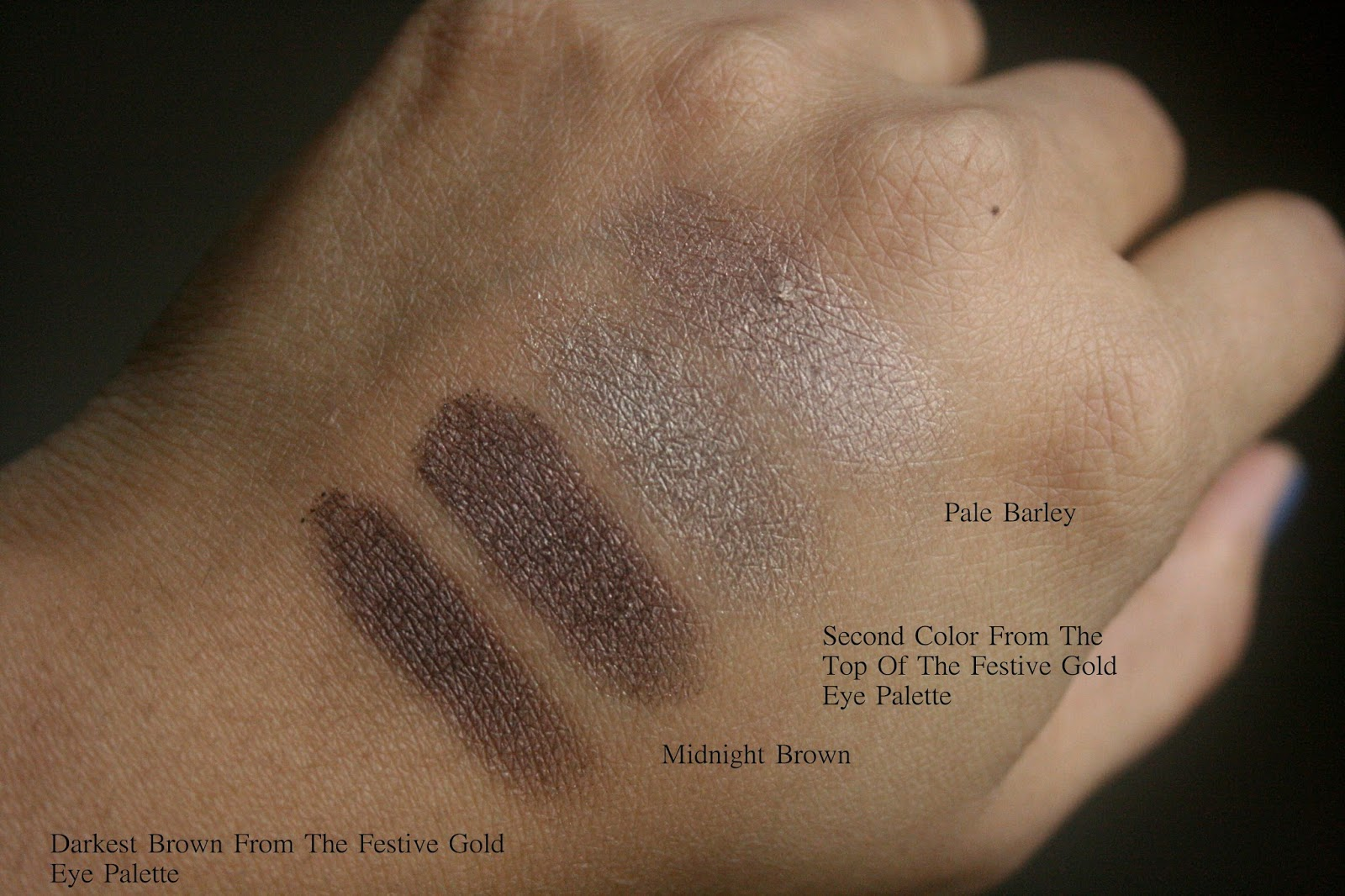 Burberry Beauty Complete Eye Palette in Gold No.25 Swatches Comparison to pale barley and mignight brown Swatches