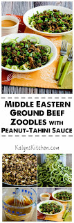 Middle Eastern Ground Beef Zoodles with Peanut-Tahini Sauce found on KalynsKitchen.com