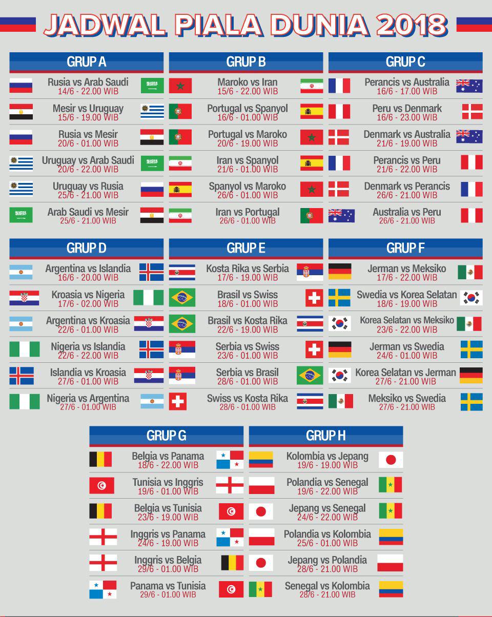 Jadwal Pertandingan Bola Piala Dunia 2018