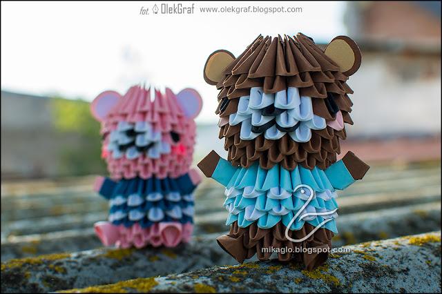 430. Misie w koszulkach / 3d origami little bears