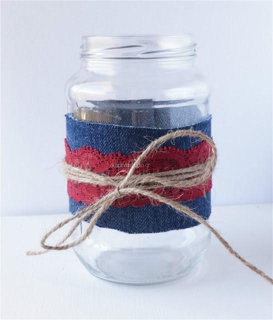DIY με τζιν και δαντέλα διακόσμηση βάζου