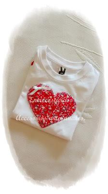 Camiseta corazón. Entrecosturas. Accesorios artesanales.